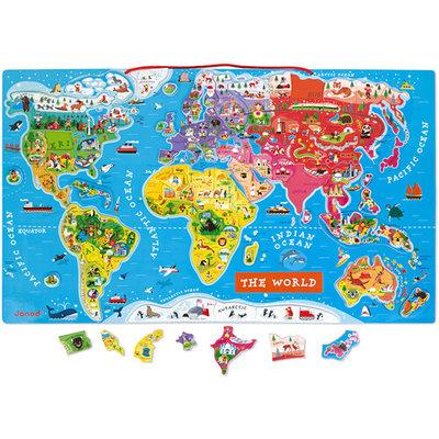 Janod Wereldkaart magnetisch - de wereld (ENG)