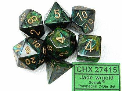 Chessex Dice Set Scarab Jade/gold Polydice CHX-27415