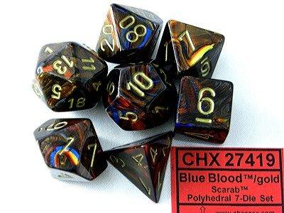 Chessex Dice Set Scarab Blue Blood/gold CHX-27419