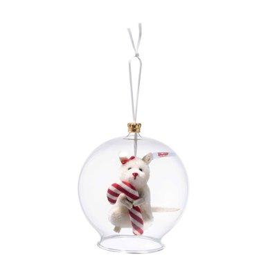 Steiff Muis Candy Cane in glazen bal ornament 006296