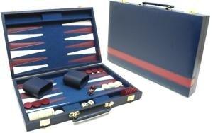 Backgammonkoffer blauw met rode bies
