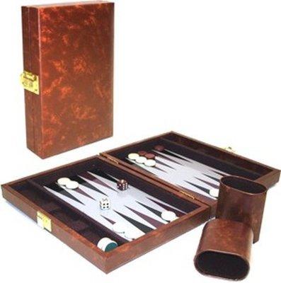 Backgammonkoffer magnetisch bruin