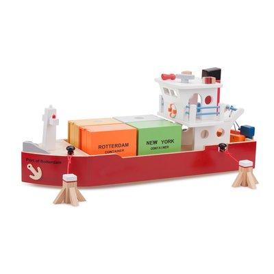 New Classic Toys Containerschip met vier containers havenlijn