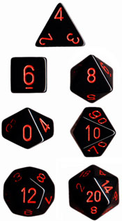 Chessex Dice Set Opa Poly Lt. Black/Red CHX 25418