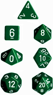Chessex Dice Set Opa Poly Green/White CHX 25405