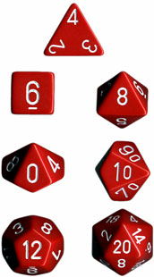 Chessex Dice Set Opa Poly Red/White CHX 25404