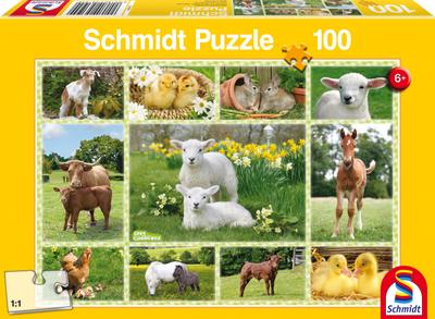 Schmidt Puzzel Jonge Boerderijdieren 100 stukjes